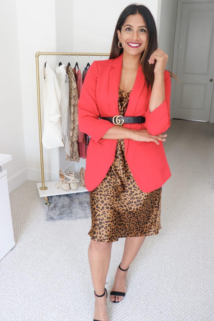 Leopard Slip Dress with Red Blazer