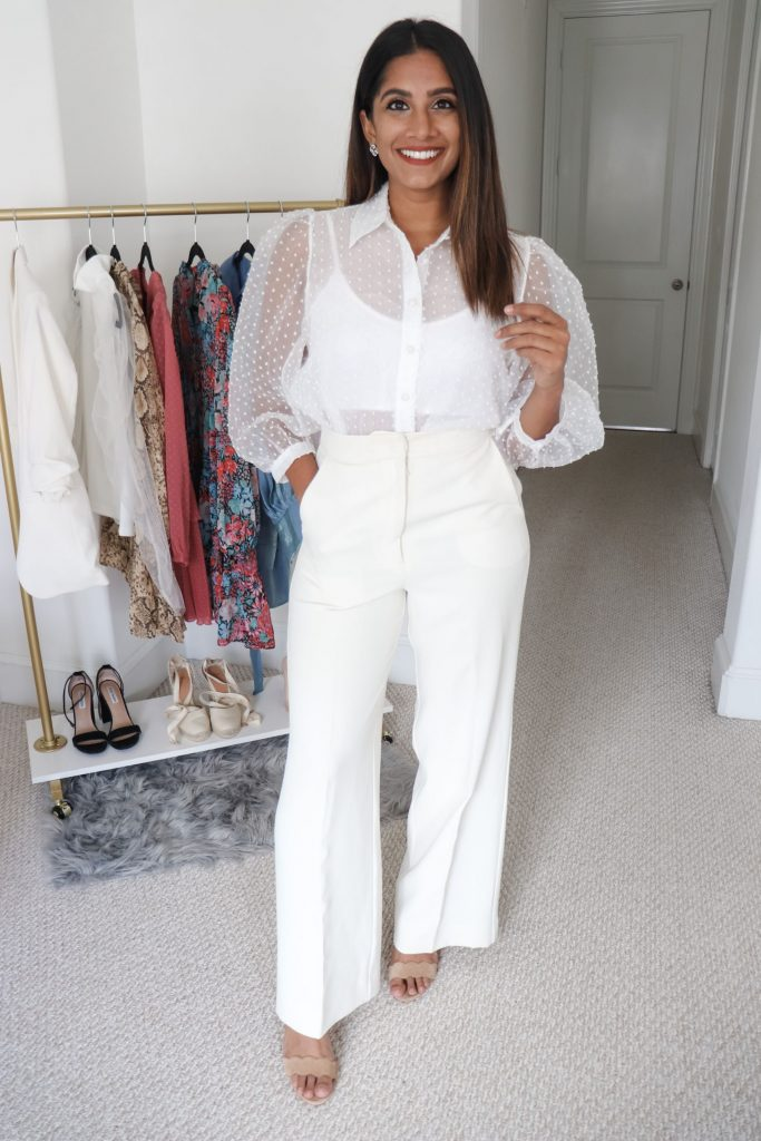 White High Waisted Pants with White Organza Blouse