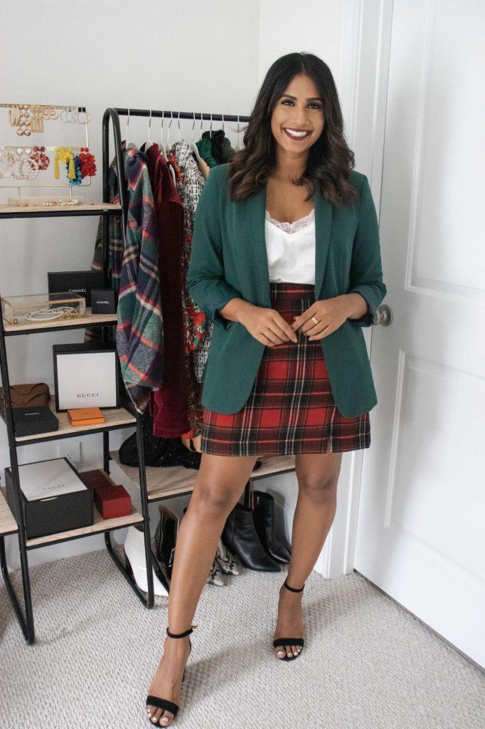 Christmas Plaid Skirt with blazer