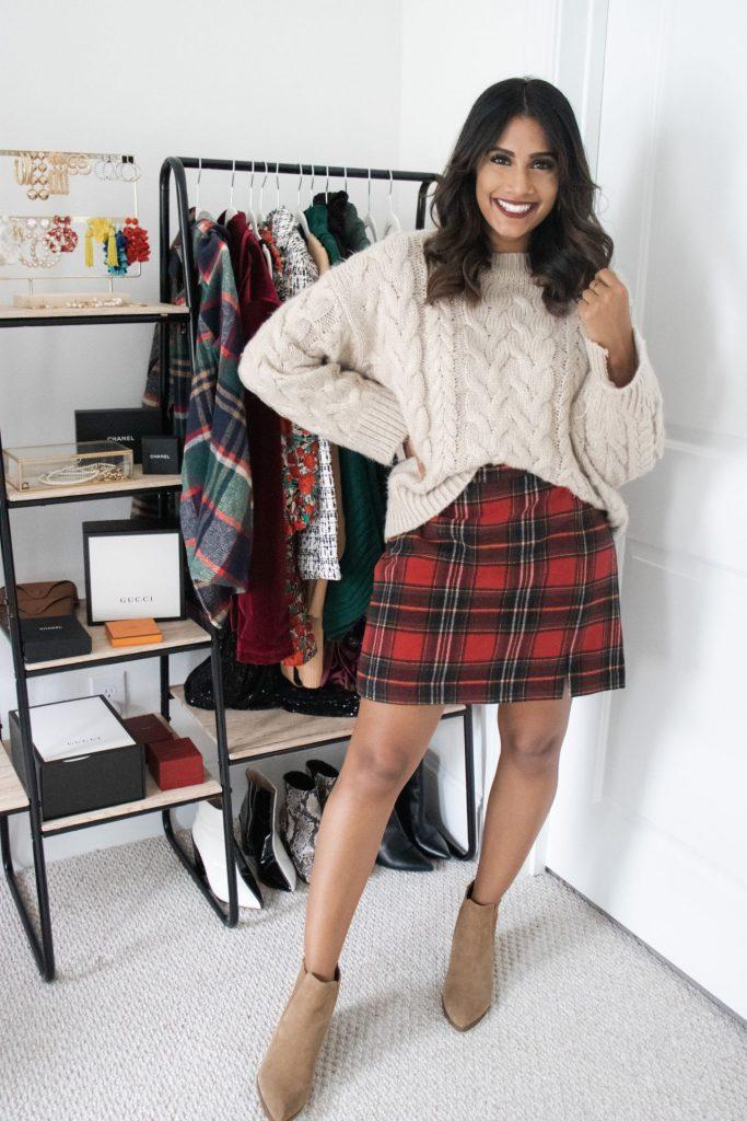 Christmas Plaid Skirt with chunky sweater