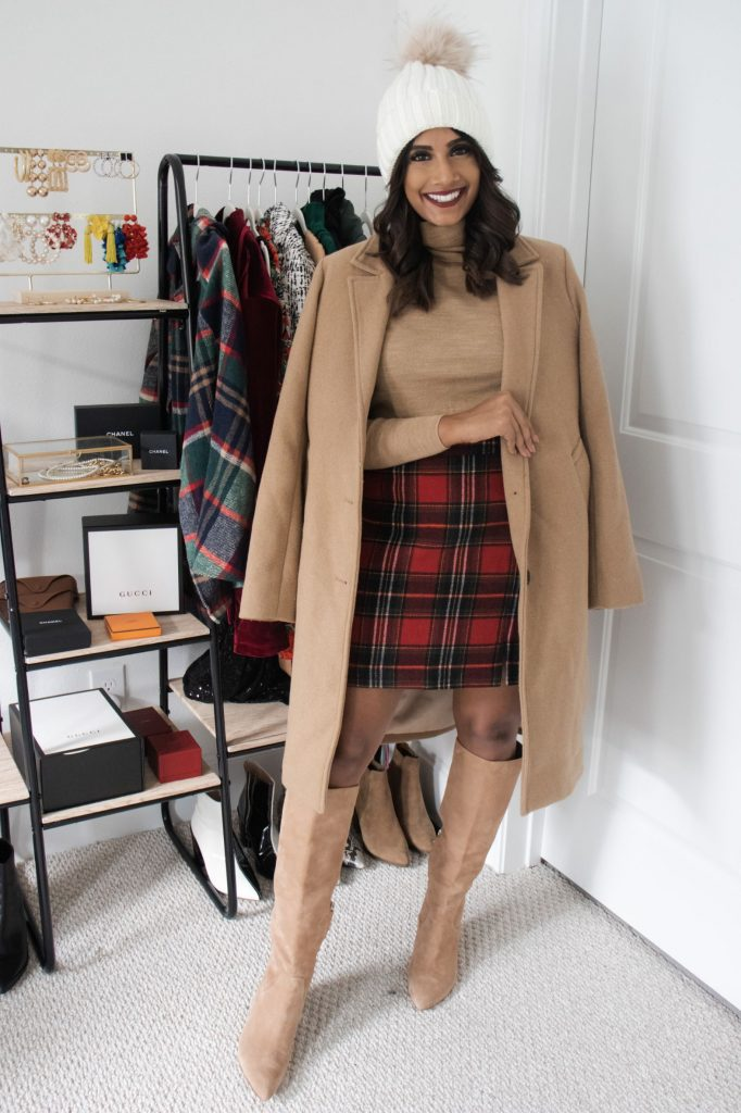 Christmas Plaid Skirt with tan turtleneck and camel coat