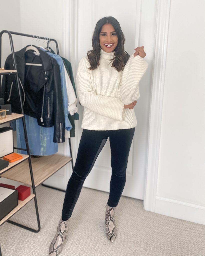 Spanx Velvet Leggings with white sweater