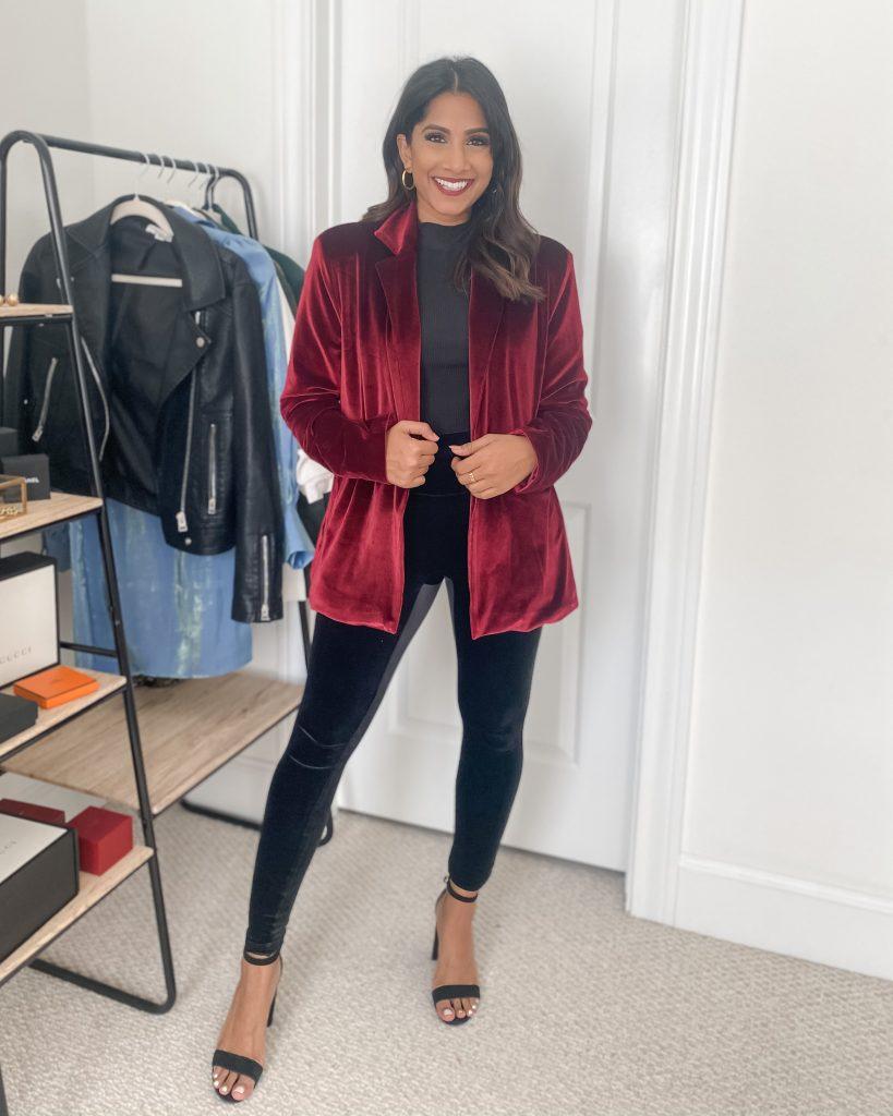 Spanx Velvet Leggings with velvet blazer