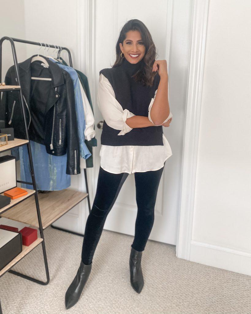 Spanx Velvet Leggings with black vest