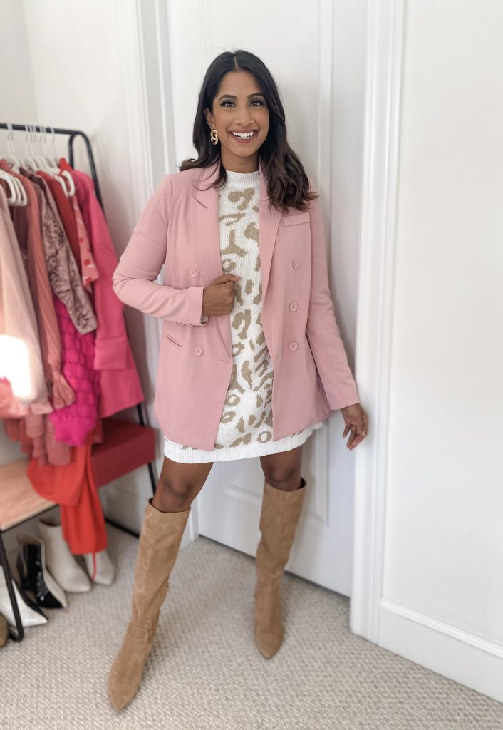 Sweater dress with pink blazer over