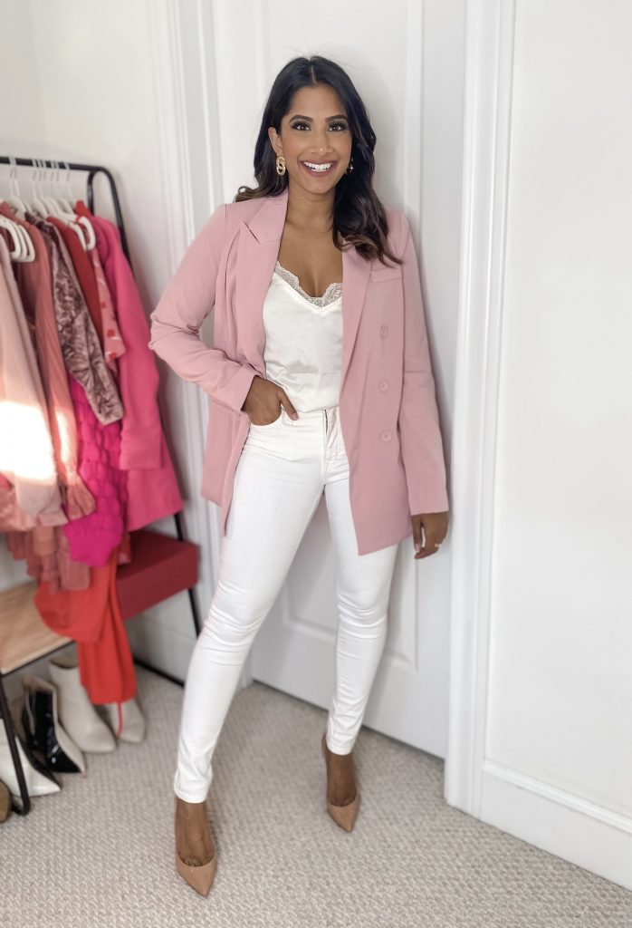 Pink Blazer with all while look