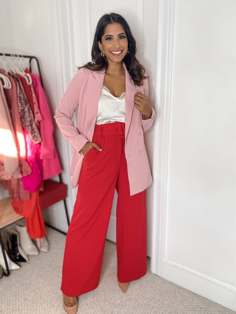 Red wide leg pants and pink blazer with cami