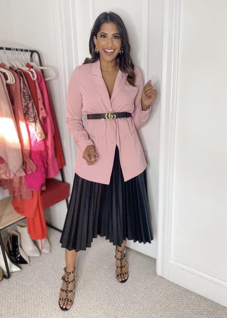 Pink Blazer with Fauz leather midi skirt