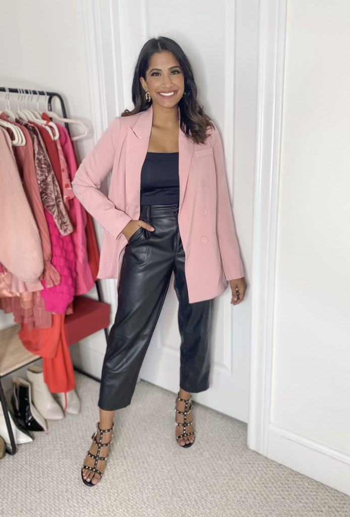 Faux Leather pants with pink blazer