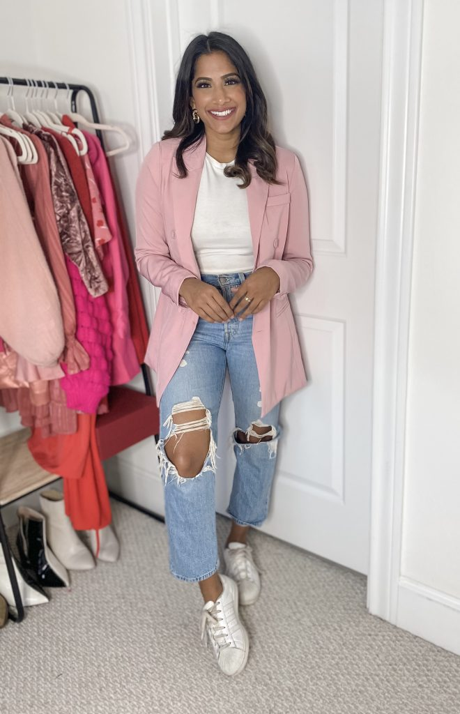 Pink Blazer with Denim and sneakers